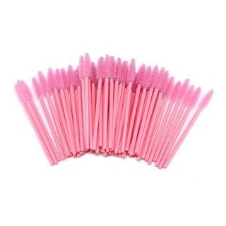 Eyelashes & Brown brushes pink 100 pieces