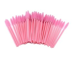 Eyelashes & Brown brushes pink 100 pieces
